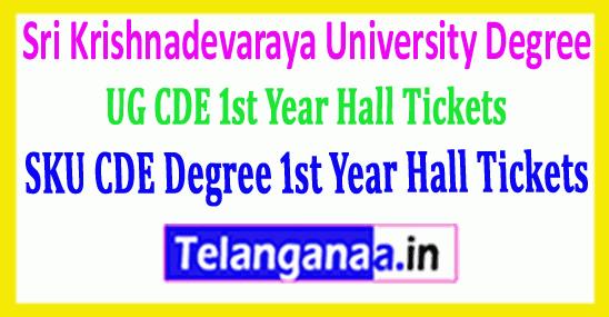 SKU CDE Degree Sri Krishnadevaraya University UG CDE 1st Year Hall Tickets 2019 Download
