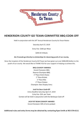 Four meat BBQ contest planned for Henderson County's 34th annual Go Texan Rodeo