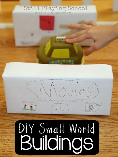 Kids can make their own buildings for small world pretend play!