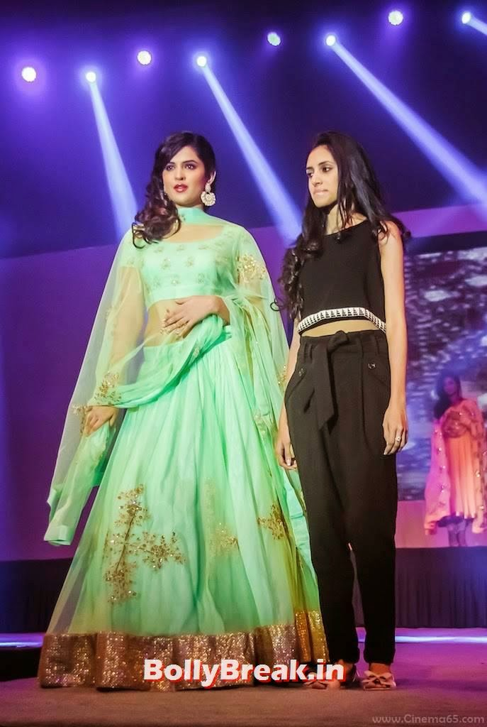 Deeksha Seth Pictures, Deeksha Seth in Green anarkali Dress - Ramp Walk Pics