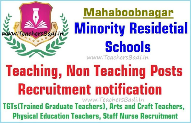 Teaching,Non Teaching posts,Mahaboobnagar Minority Residential Schools