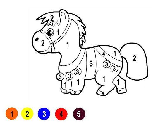 Hình tô màu con ngựa theo số
