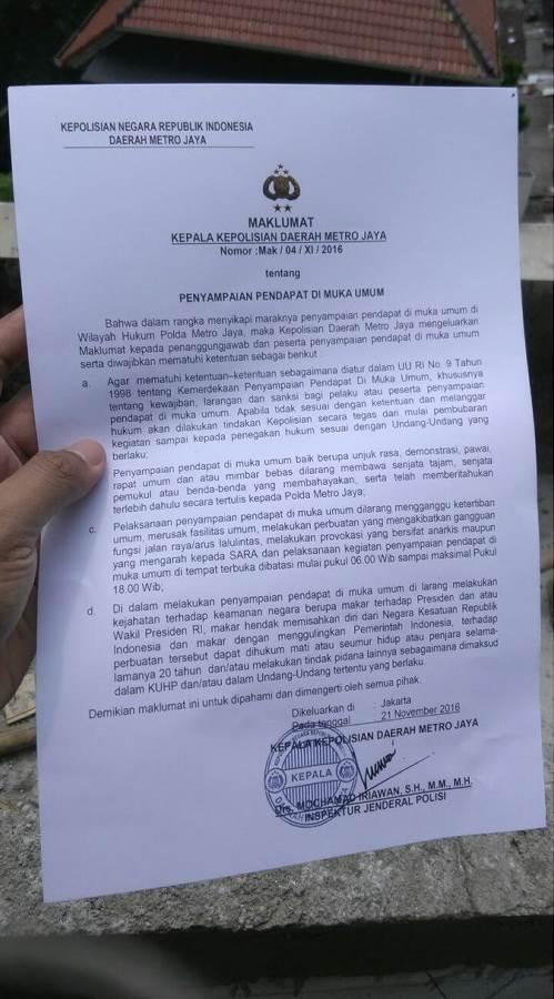 Terkait Aksi Bela Islam 212, Polisi Sebar Maklumat Lewat Helikopter, Begini Isinya