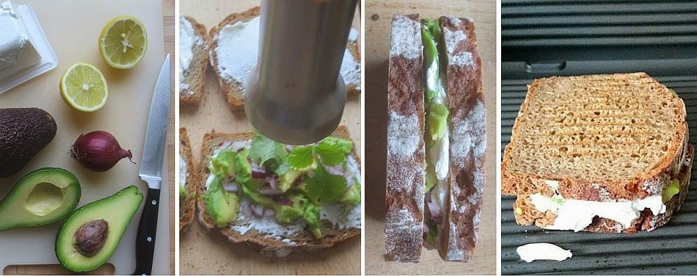 Zubereitung Avocado-Ziegenfrischkäse-Sandwich