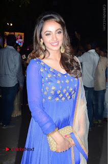 Telugu Actress Tejaswi Madivada Pos in Blue Long Dress at Nanna Nenu Na Boyfriends Audio Launch  0094.JPG