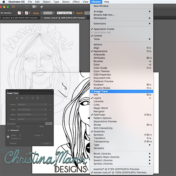 Turn your Sketches into Vector Art. How to Use Image Trace and Live Paint in Adobe Illustrator.  | Tutorial at Christina Mann Designs.