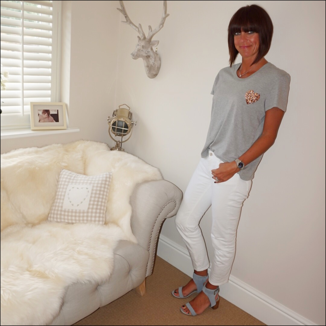 my midlife fashion, markus lupher heart sequin t shirt, zara white distressed cigarette jeans, marks and spencer stud block heel sandals