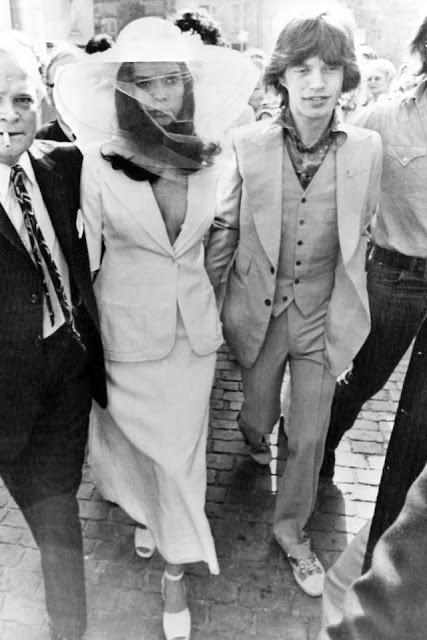 Mick marries Bianca in St,Tropez, France Bianca wears suit by YSL