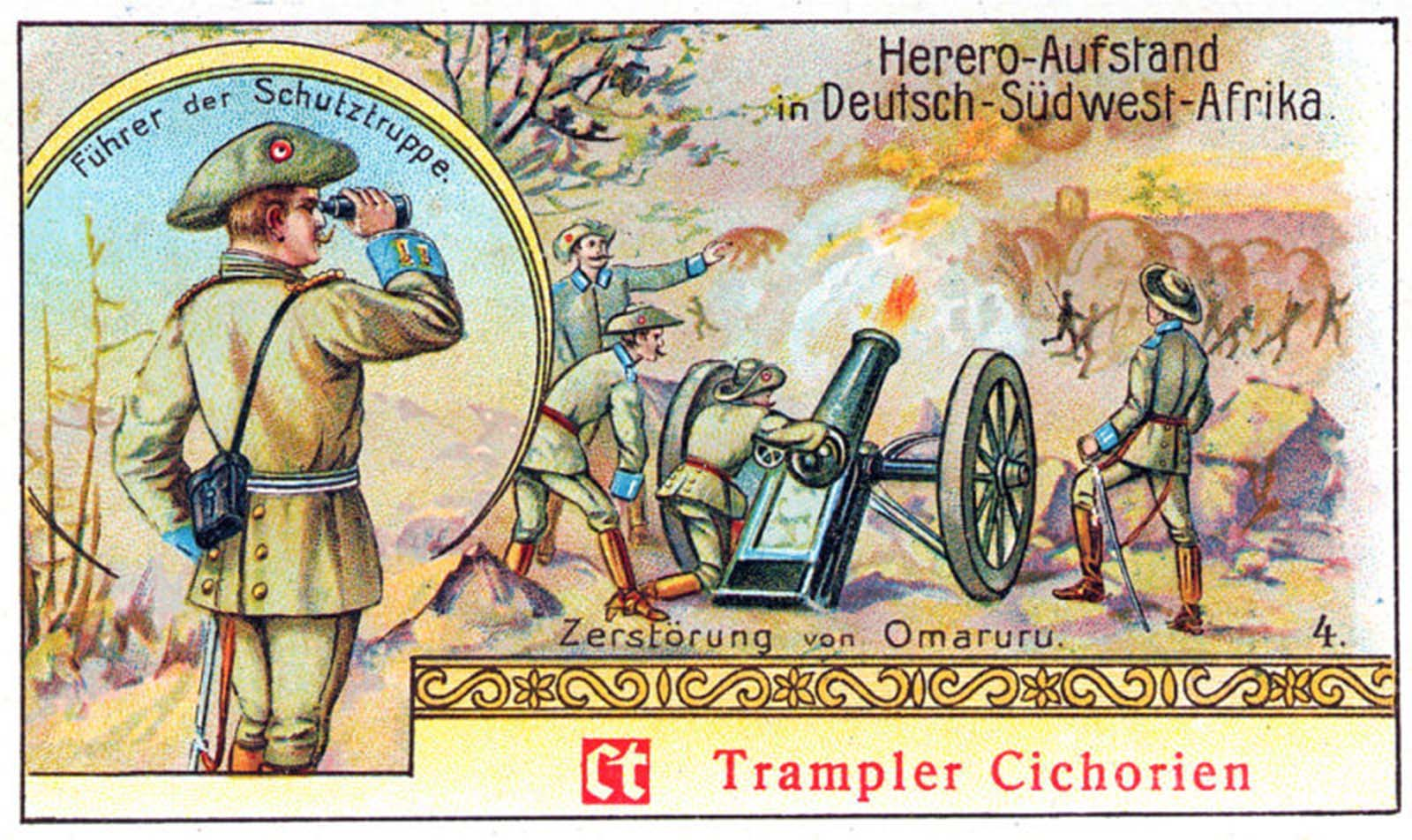 "The German postcard titled the ""Herero-rebellion in German-Southwest-Africa."""