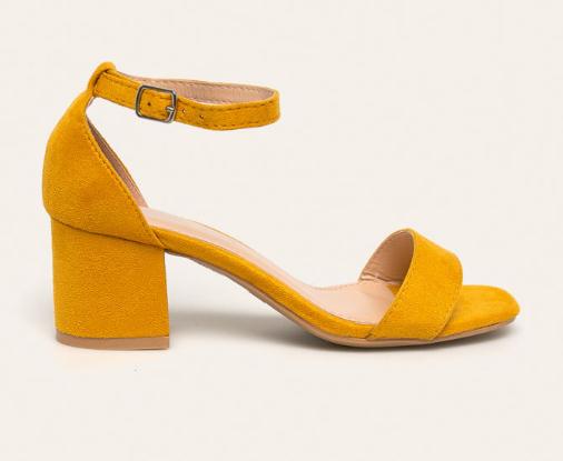 Sandale elegante de zi galbene cu toc gros la moda ieftine Answear