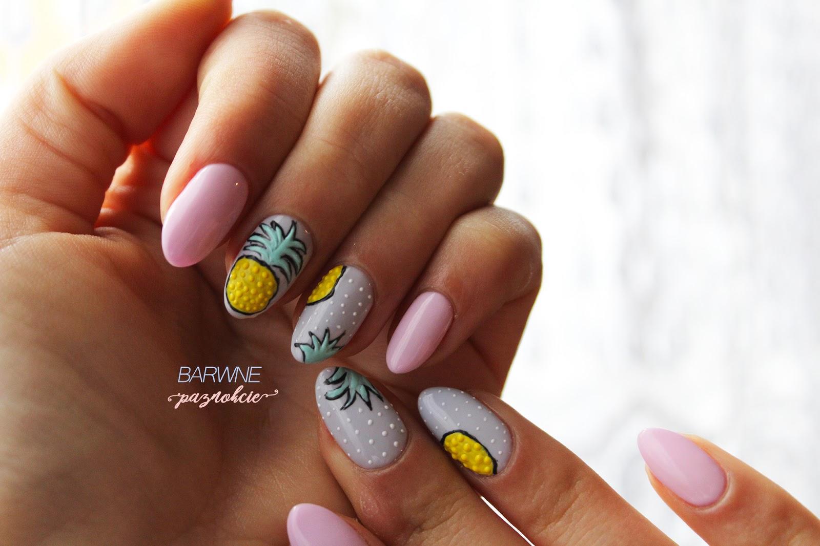 Ananasy na pazokciach, owoce na paznokciach, mistero milano, manicure hybrydowy