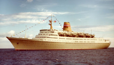 The Stately Vistafjord as originally constructed for Norwegian America Line.Oasia, Caronia, Saga Ruby, Saga Cruises, Curnard