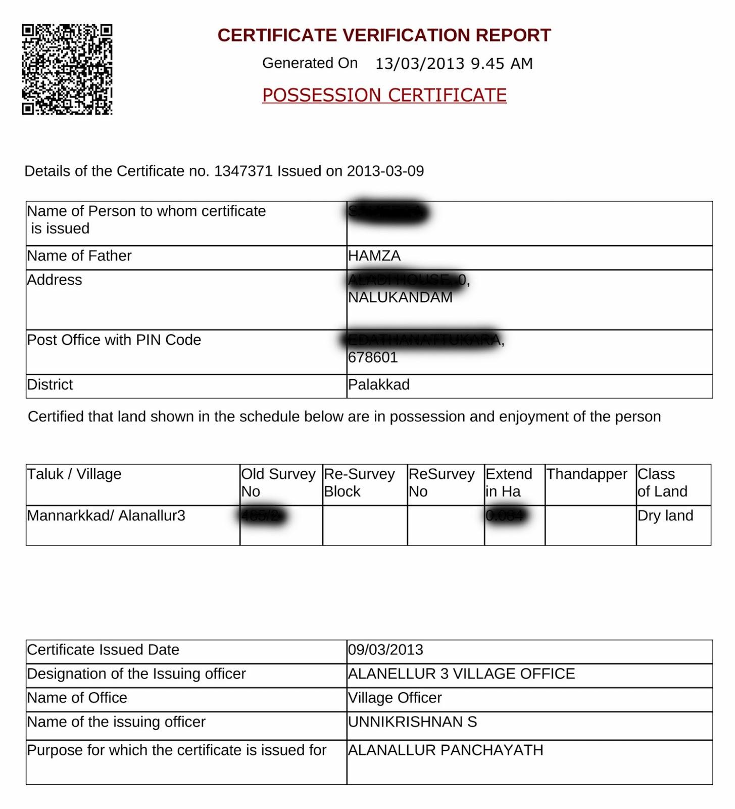 relationship certificate village office kerala
