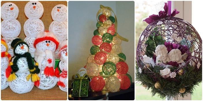 De todo un poco adornos navide os con esferas de hilo - Adornos navidenos paso a paso ...