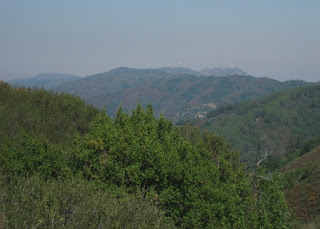 Hazy view of Mt. Umunhum and Mt. Thayer from the west, Santa Cruz County, California