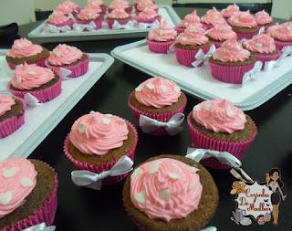 Cupcakes com recheio de brigadeiro