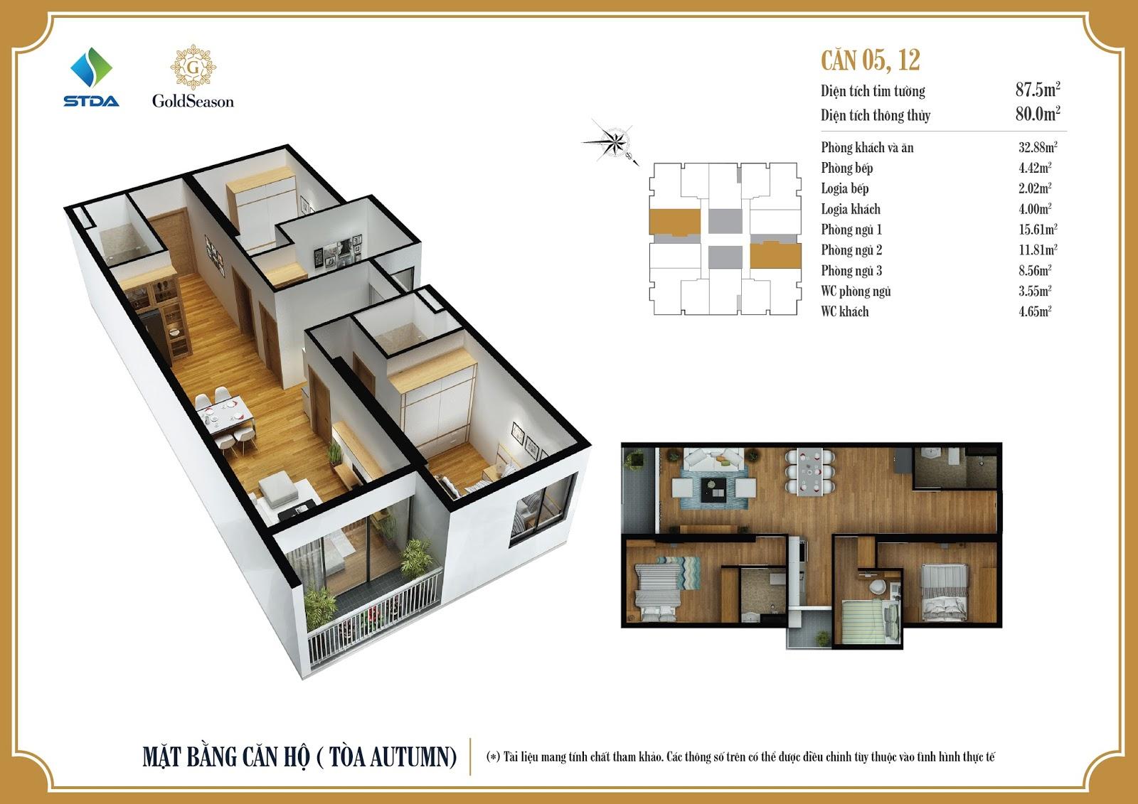 Mặt bằng căn hộ 05, 12 - 87,5m2 - GoldSeason