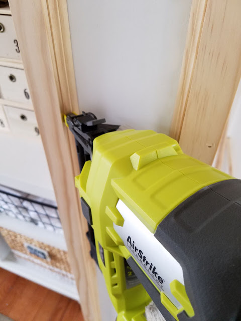 Ryobi nailer used to add trim around doorway