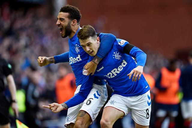 Ryan Jack Celebrates with teammates (Rangers 1 - 0 Celtic)
