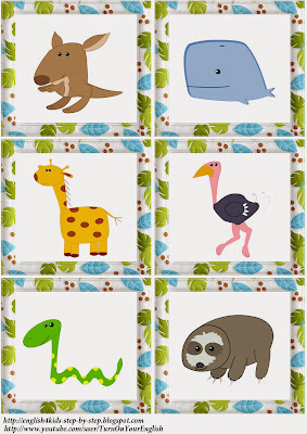 wild animals action verbs flashcards for learning english