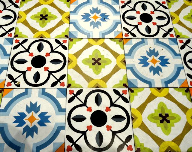 Beautiful floor tiles in the cafeteria restaurant