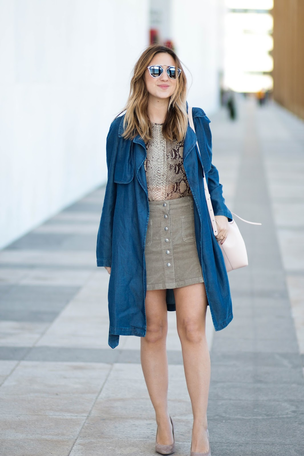 button up skirt, mini skirt, lulus skirt, denim trench coat, snake print, dc blog, blogger, style blogger, outfit