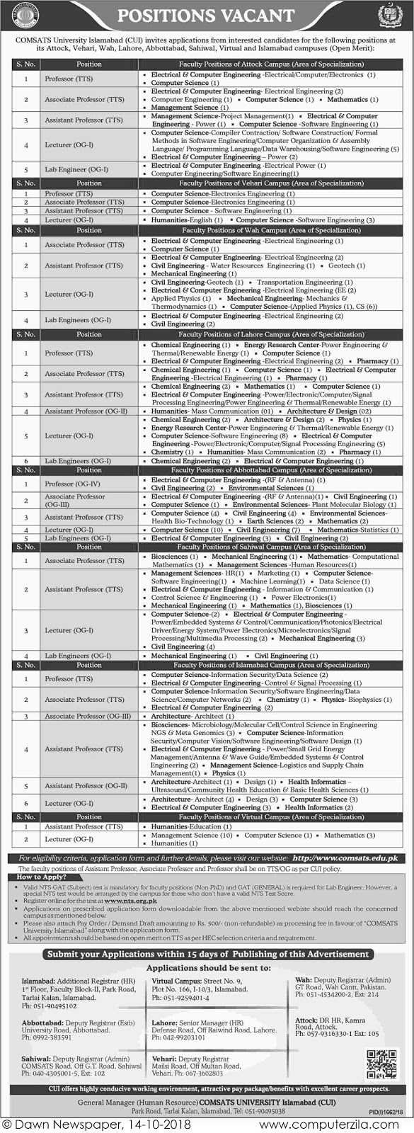 Positions Vacant at COMSATS University Islamabad