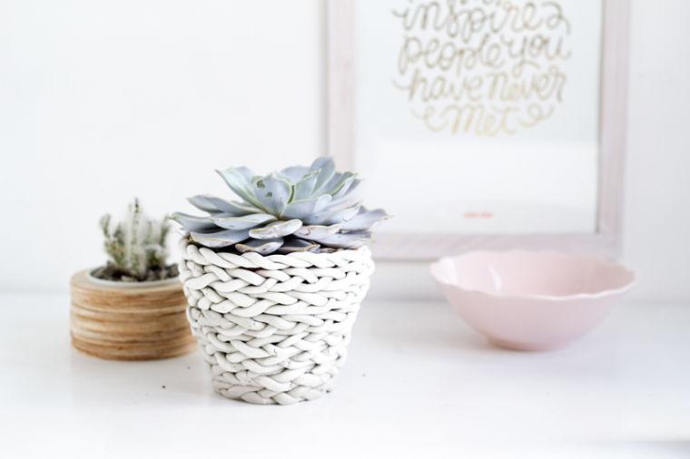 Diy decorar una maceta con una trenza de arcilla Macetas ceramica online