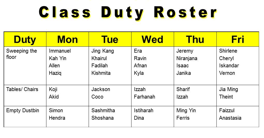 school duty roster