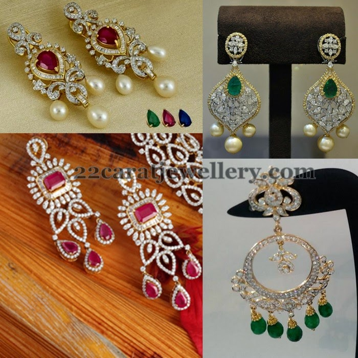 Changeable Stones Diamond Earrings - Jewellery Designs