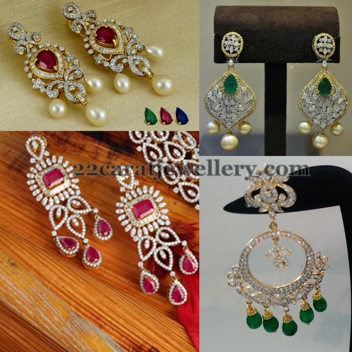 Changeable Stones Diamond Earrings - Jewellery Designs