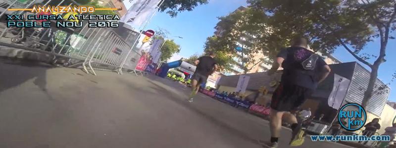 Última curva de la carrera entrado en la recta de meta en el carrer Espronceda - Analizando Cursa Poble Nou 2016