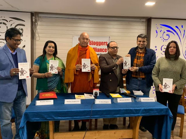 At the Chandigarh launch of Dr. Amit Nagpal's 'Heroes Amongst Us' by Venerable Bhikkhu Sanghasena and other dignitaries