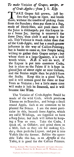Crab apple verjus verjuice recipe 1700s