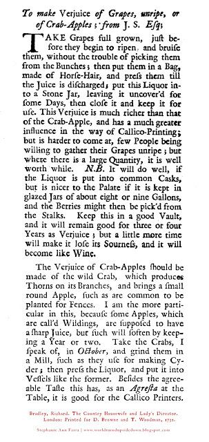 Crab apple verjus verjuice recipe 1700s