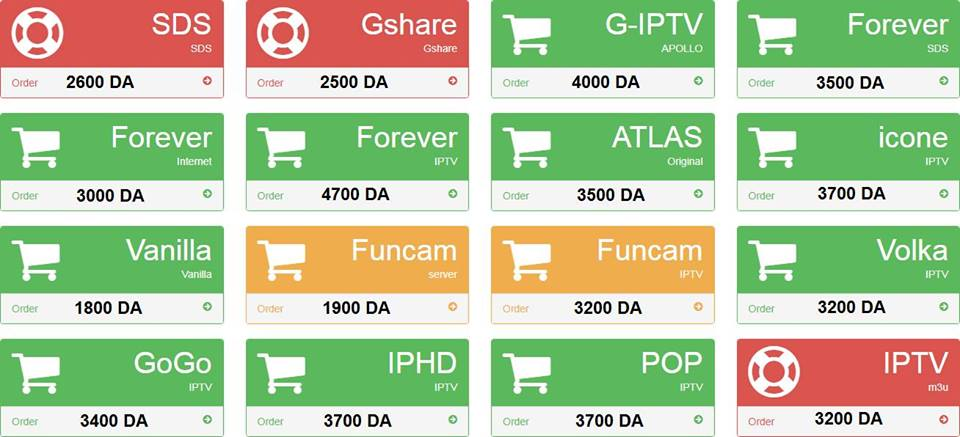ATLAS IPTV, ATLAS PRO IPTV, CCCAM, FOREVER, FUNCAM, G-IPTV