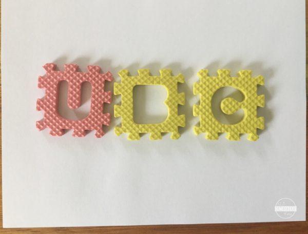 foam letters spelling practice activity