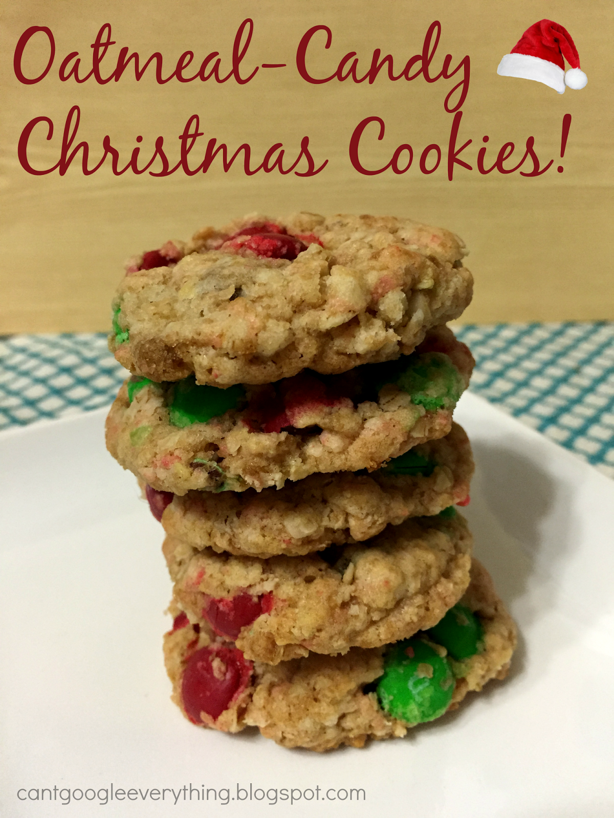 grab a cup of coffee and enjoy the cookies that each blogger has prepared for you i made oatmeal and candy cookies with christmas colored mms and they are