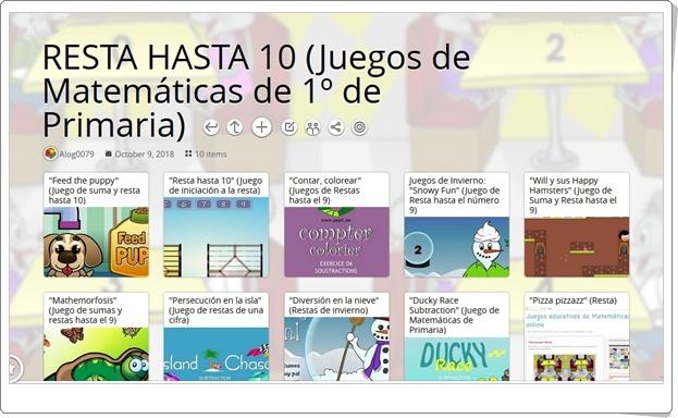"""""""10 Juegos para la práctica de la RESTA HASTA 10 en 1º de Primaria"""""""