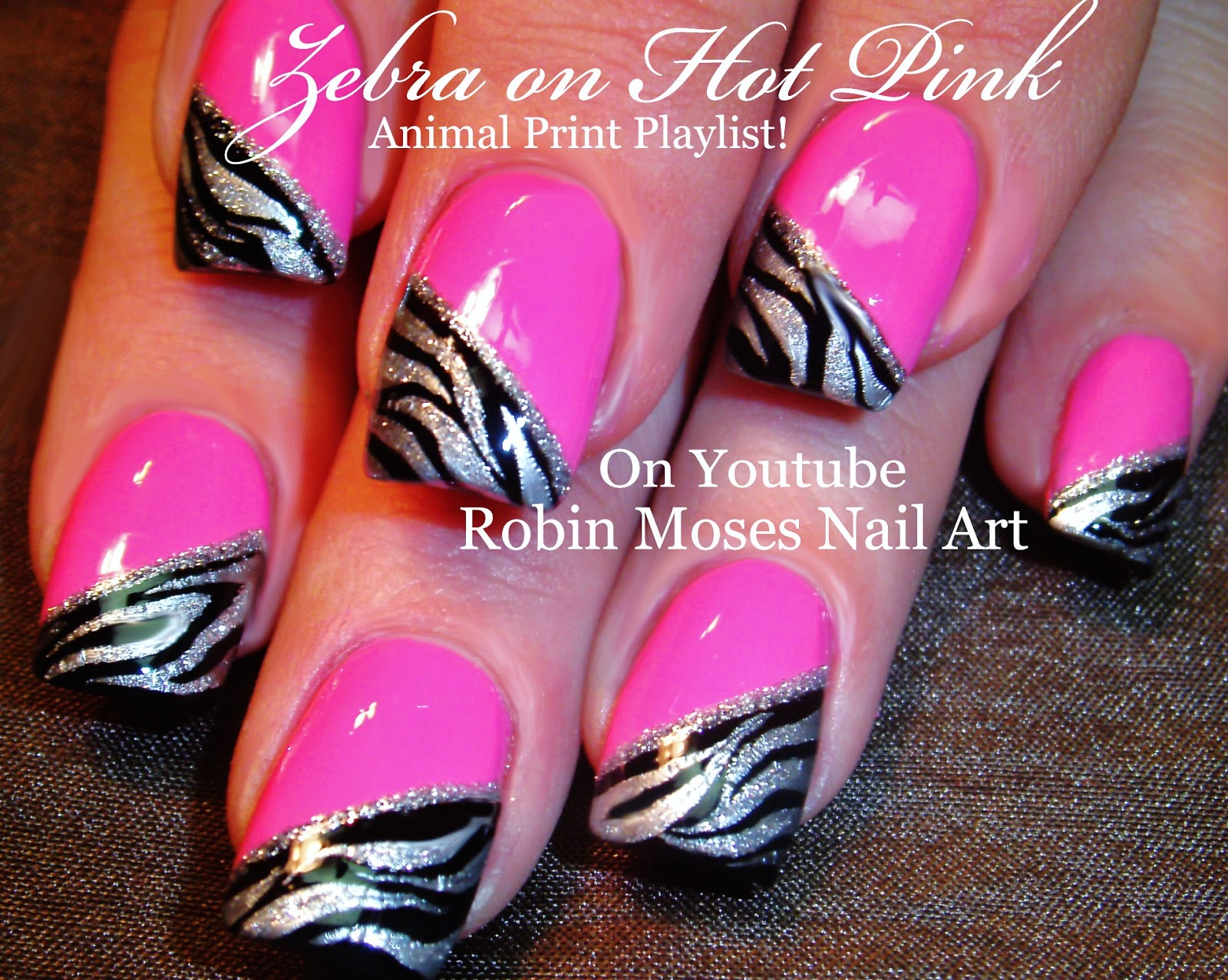 Hot Pink Nails With Black And Silver Zebra Animal Print Nail Art