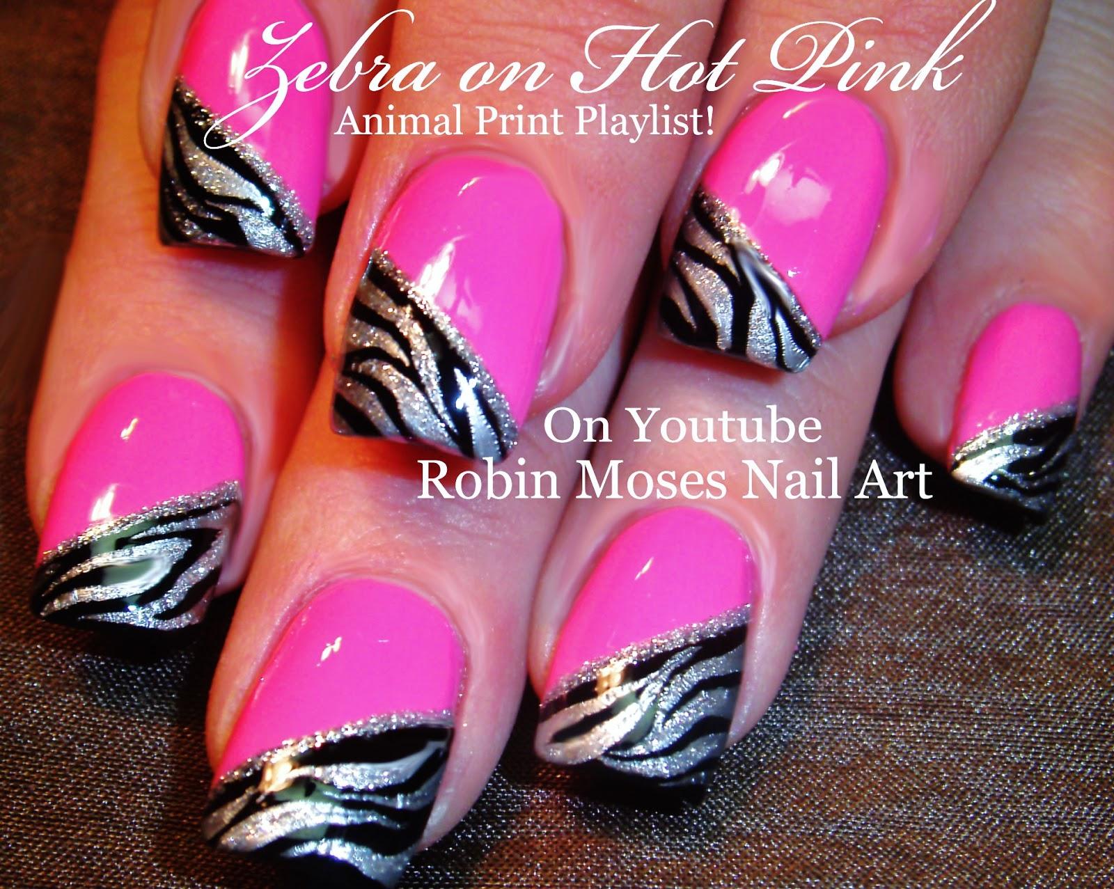 Robin Moses Nail Art: Hot Pink Nails with Black and Silver ...