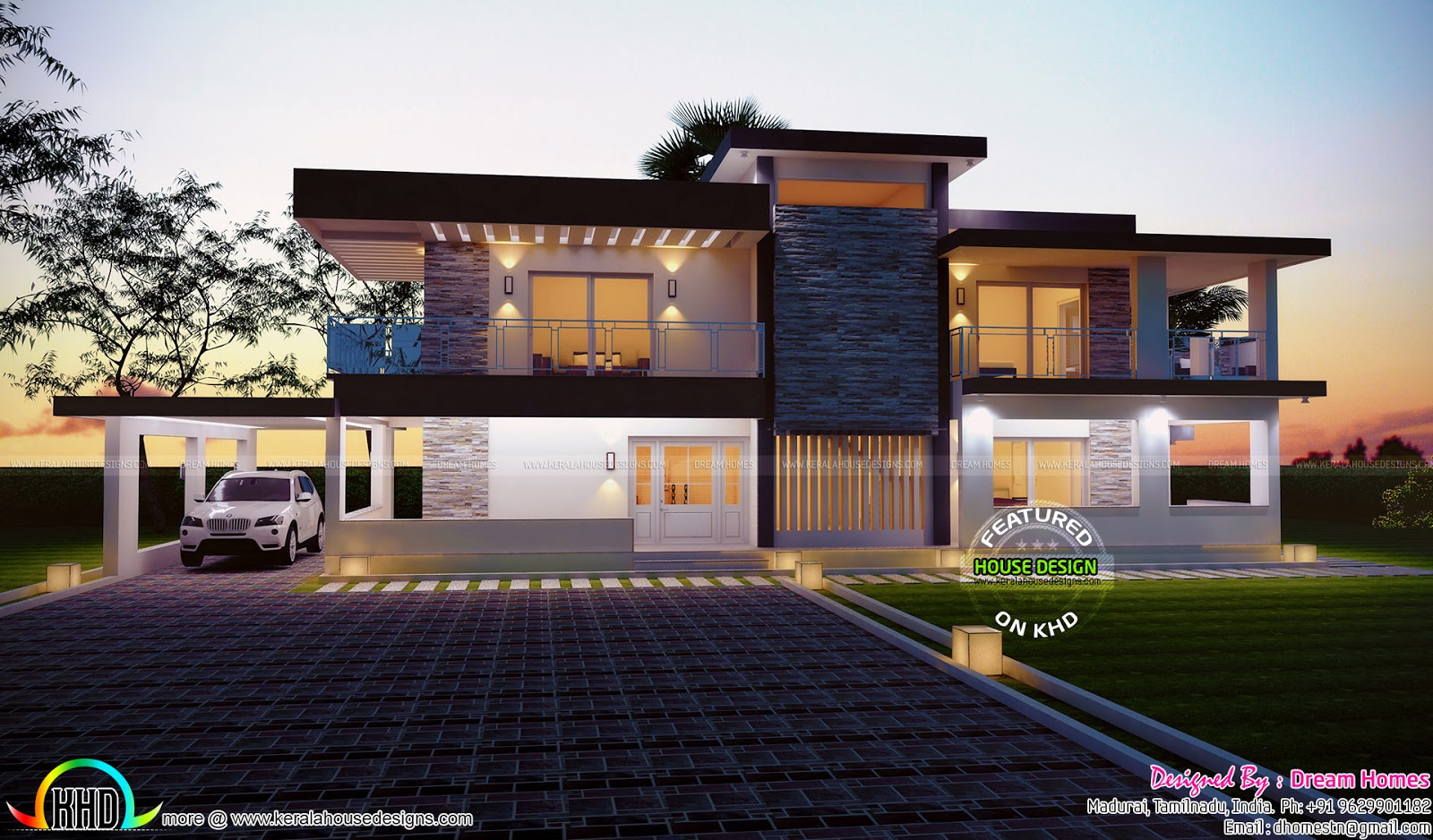 2685 square feet house plan and elevation kerala home for Contemporary modern style house plans