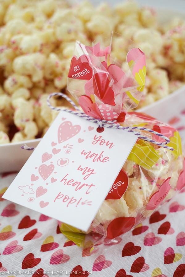 Free valentine puffcorn popcorn printable card