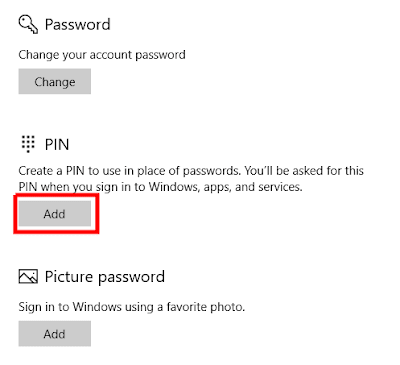 اضغط على Add تحت كلمة PIN
