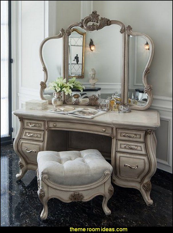 Luxury bedroom designs - Marie Antoinette Style theme decorating ideas - French provincial furniture baroque style - Louis XVI furniture - Rococo furniture - baroque furniture - marie antoinette bedroom ideas - marie antoinette bedroom furniture - luxury bedding -  luxury curtains