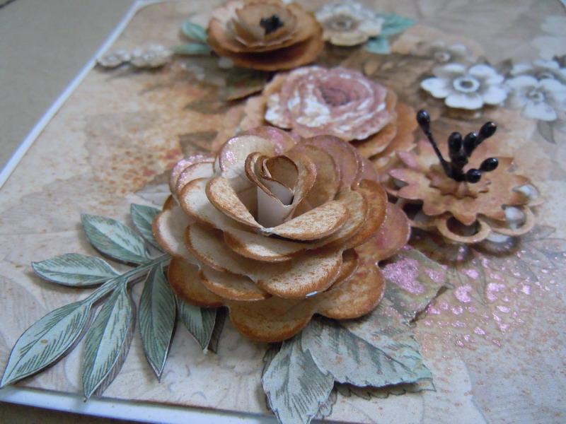 Wilowarstwowe kwiaty na kartce