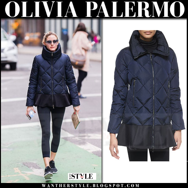 Olivia Palermo in blue quilted Moncler Vouglans jacket, black leggings and Nike air max thea sneakers what she wore streetstyle