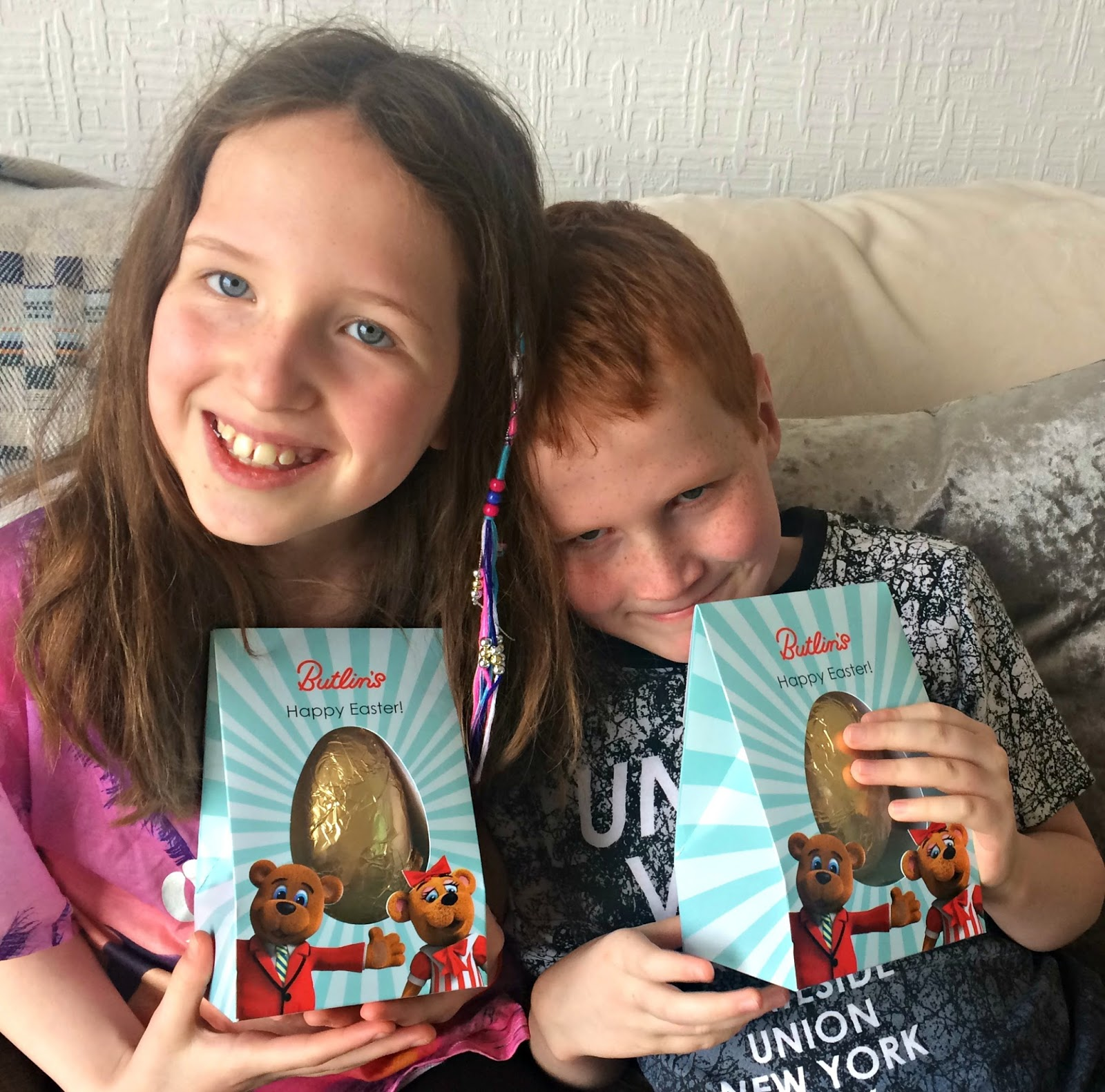 Caitlin & Ieuan with Butlins Easter Eggs