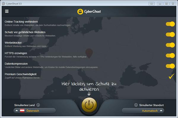 CyberGhost Zusatzfunktionen im Premium Tarif