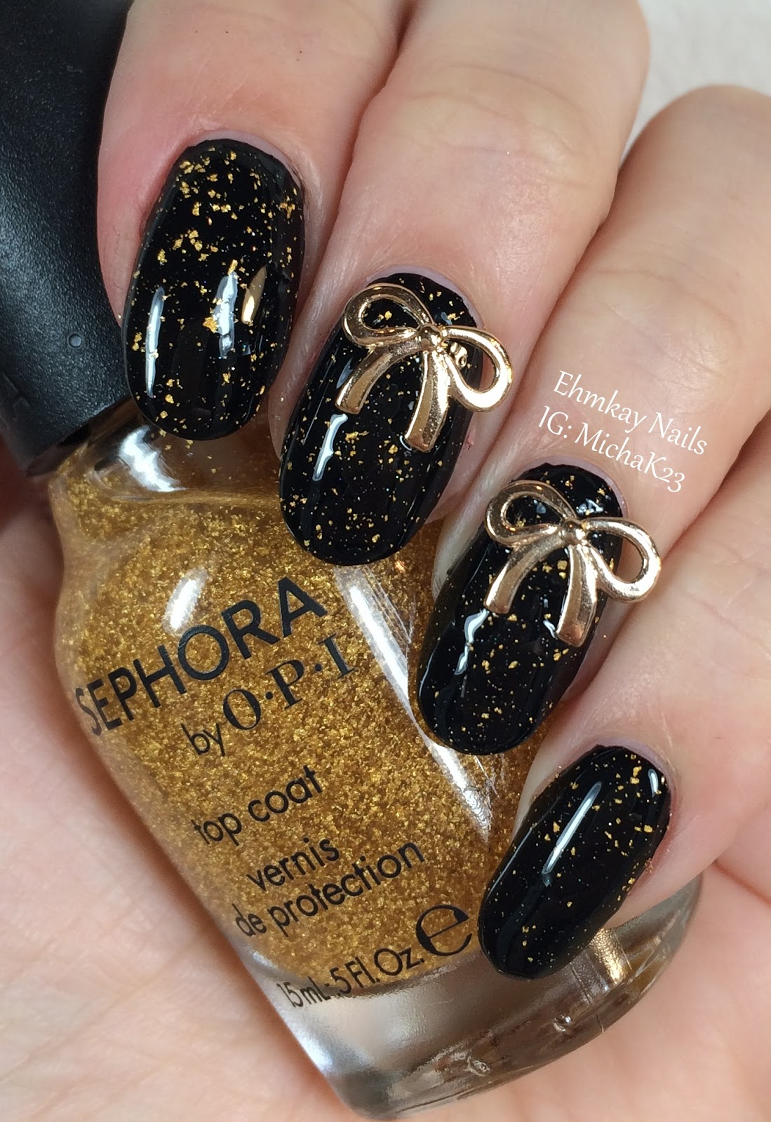 ehmkay nails: New Year\'s Eve Nails: Gold Bows to Wrap Up the Year!